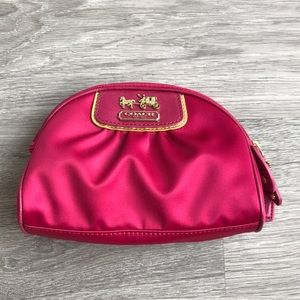 Authentic Coach Signature Cosmetic Bag Hot Pink